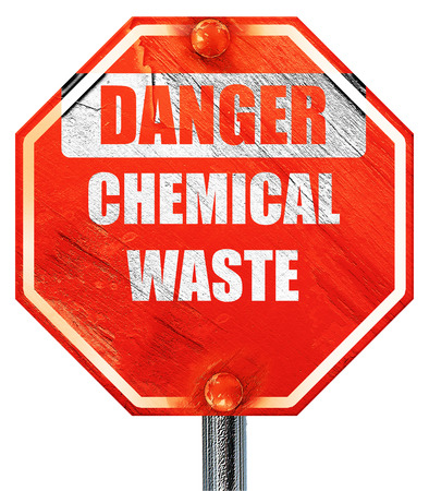 hazardous area sign: Chemical waste sign with some smooth lines, 3D rendering, a red stop sign
