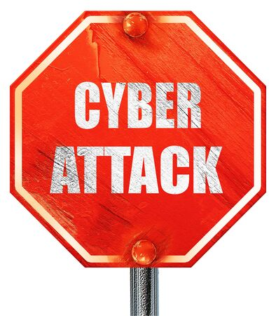 capitalized: Cyber warfare background with some smooth lines, 3D rendering, a red stop sign Stock Photo