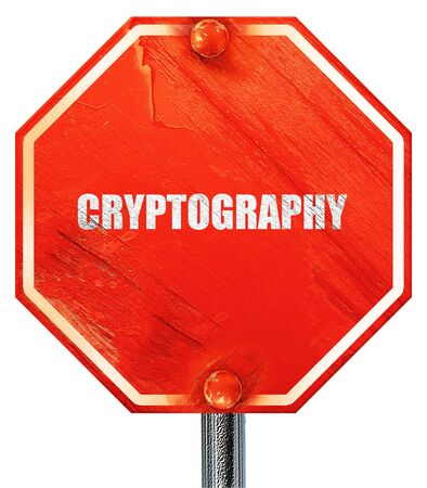 cryptography: cryptography, 3D rendering, a red stop sign