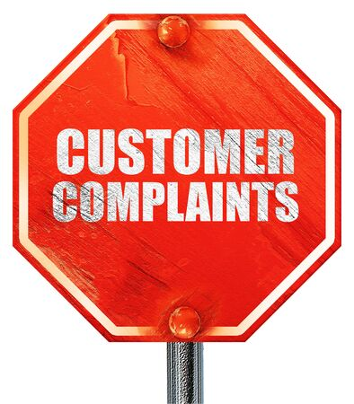 complaints: customer complaints, 3D rendering, a red stop sign