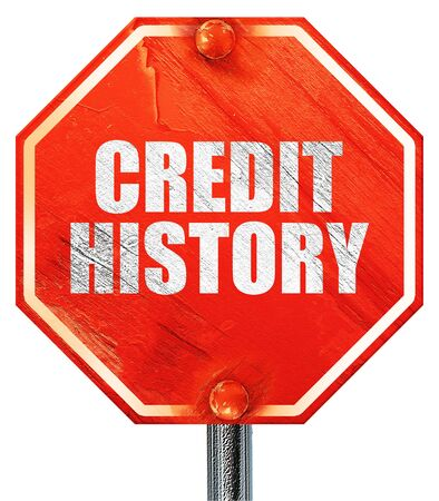 credit history, 3D rendering, a red stop sign