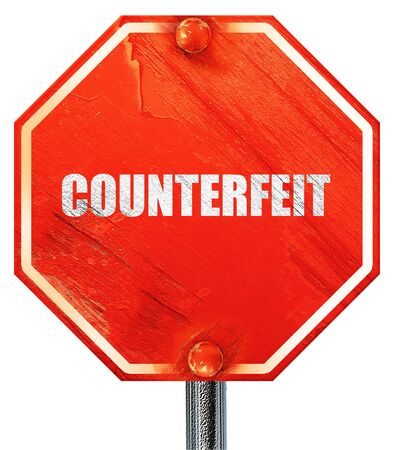 dinero falso: falsificaci�n, 3D, una se�al de stop roja Foto de archivo