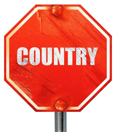 Country Music, 3D Rendering, A Red Stop Sign Stock Photo