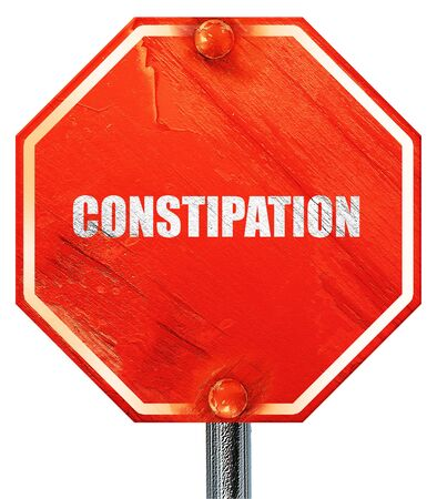 constipated: constipation, 3D rendering, a red stop sign