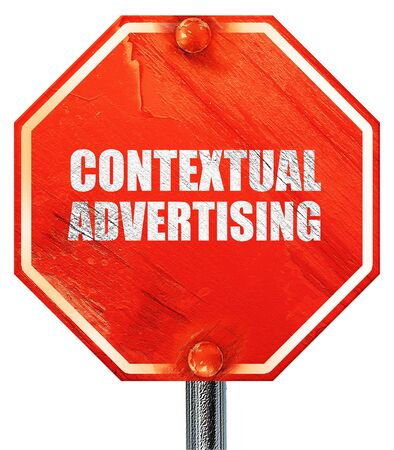 contextual: contextual advertising, 3D rendering, a red stop sign