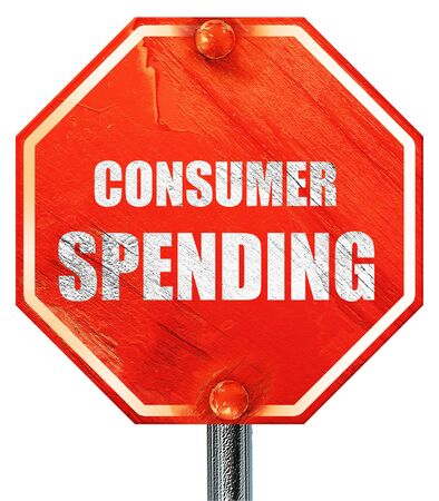 consumer: consumer spending, 3D rendering, a red stop sign Stock Photo