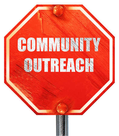 outreach: Community outreach sign with some smooth lines, 3D rendering, a red stop sign Stock Photo