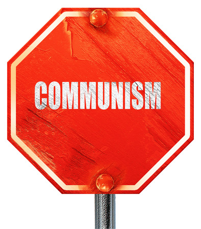 communism: communism, 3D rendering, a red stop sign Stock Photo