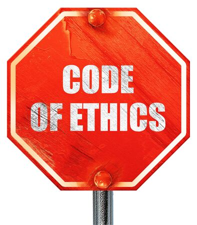 working ethic: code of ethics, 3D rendering, a red stop sign