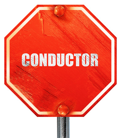 conductor: conductor, 3D rendering, a red stop sign
