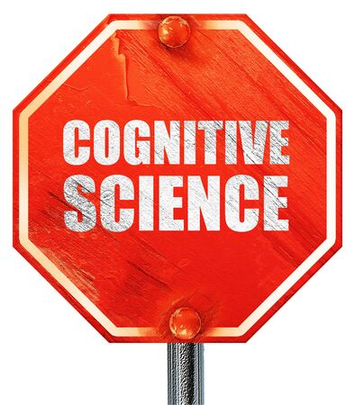 cognitive: cognitive science, 3D rendering, a red stop sign