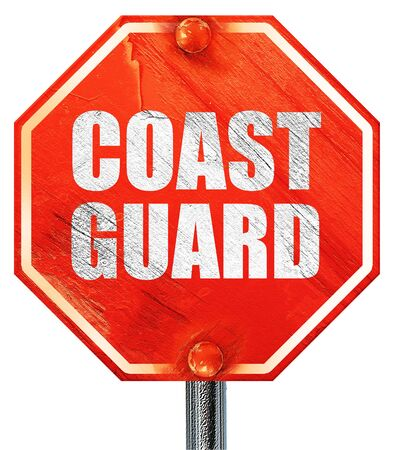 deterrent: coast guard, 3D rendering, a red stop sign