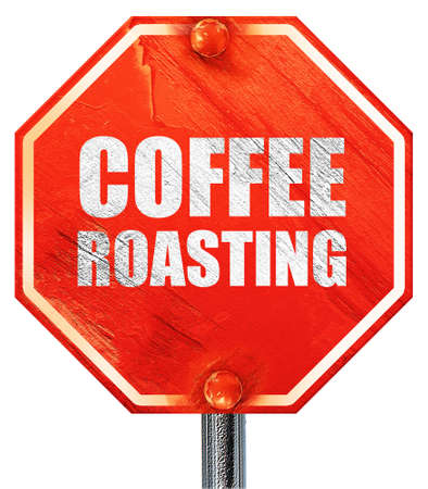 roasting: coffee roasting, 3D rendering, a red stop sign
