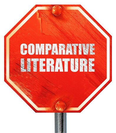 comparative: comparative literature, 3D rendering, a red stop sign