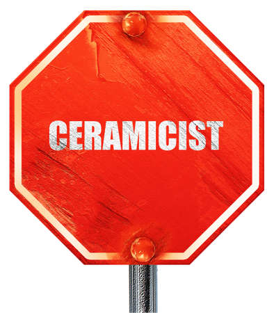 ceramicist: ceramicist, 3D rendering, a red stop sign