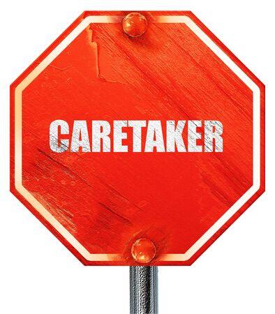 caretaker: caretaker, 3D rendering, a red stop sign