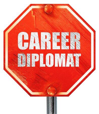 diplomat: career diplomat, 3D rendering, a red stop sign