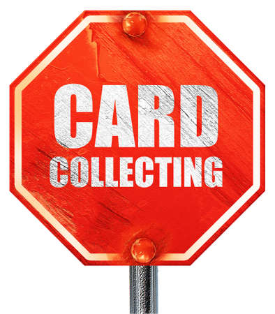 card stop: card collecting, 3D rendering, a red stop sign