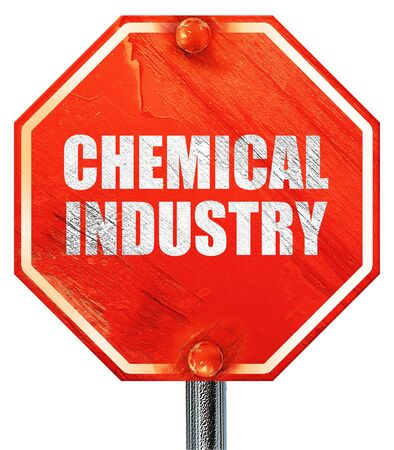 isolation tank: chemical industry, 3D rendering, a red stop sign