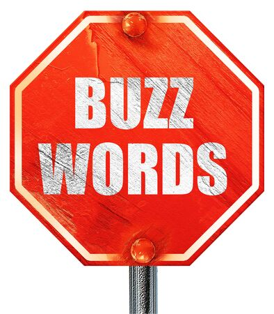 buzzword: buzzword, 3D rendering, a red stop sign