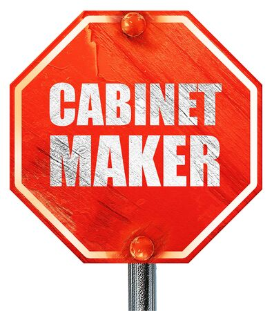 cabinet maker: cabinet maker, 3D rendering, a red stop sign Stock Photo
