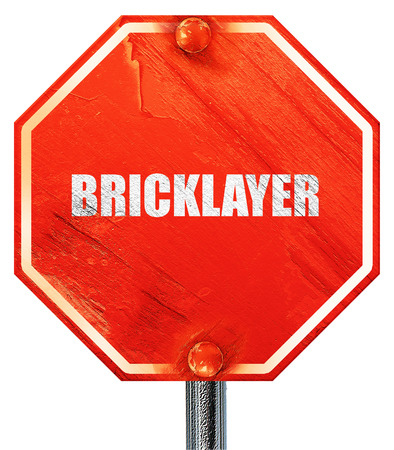 bricklayer: bricklayer, 3D rendering, a red stop sign