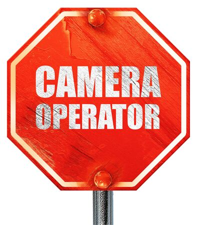 camera operator: camera operator, 3D rendering, a red stop sign Stock Photo