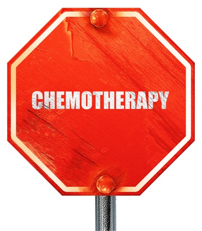 chemotherapy: chemotherapy, 3D rendering, a red stop sign