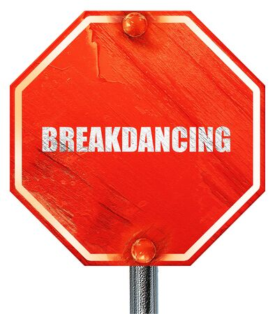 breakdancing: breakdancing, 3D rendering, a red stop sign