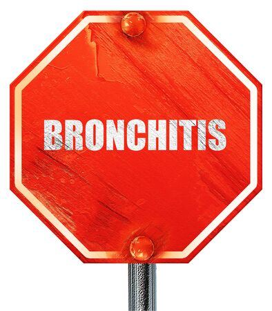 bronchitis: bronchitis, 3D rendering, a red stop sign Stock Photo
