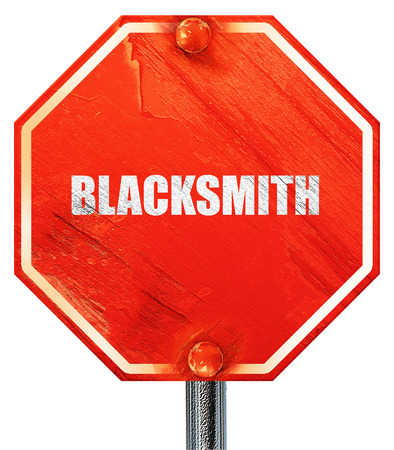 blacksmith: blacksmith, 3D rendering, a red stop sign Stock Photo