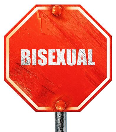 trans gender: bisexual, 3D rendering, a red stop sign Stock Photo