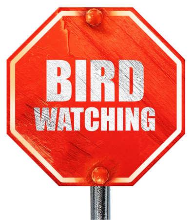 bird watching: bird watching, 3D rendering, a red stop sign