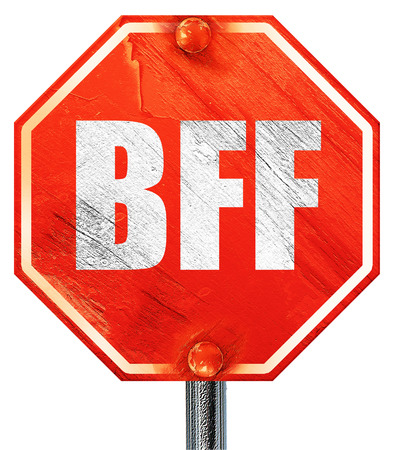 bff: bff, 3D rendering, a red stop sign