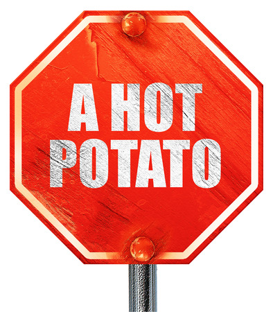 a hot potato, 3D rendering, a red stop sign Фото со стока