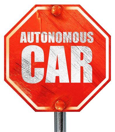 autonomous: autonomous car, 3D rendering, a red stop sign