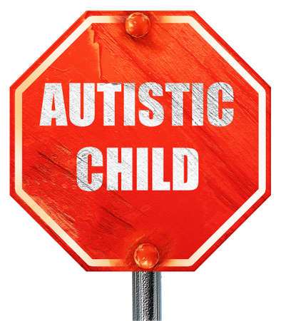 autistic: Autistic child sign with orange and black colors, 3D rendering, a red stop sign