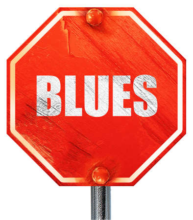 music 3d: blues music, 3D rendering, a red stop sign