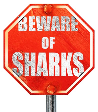 sighting: Beware of sharks sign with some smooth lines, 3D rendering, a red stop sign