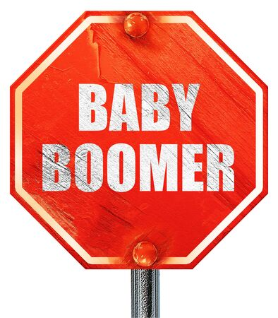 baby boomer: baby boomer, 3D rendering, a red stop sign
