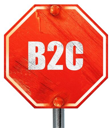 b2c: b2c, 3D rendering, a red stop sign