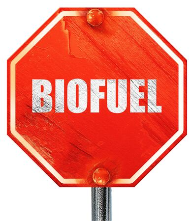 biofuel: biofuel, 3D rendering, a red stop sign