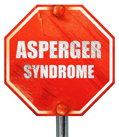 asperger syndrome: Asperger syndrome background with some soft smooth lines, 3D rendering, a red stop sign