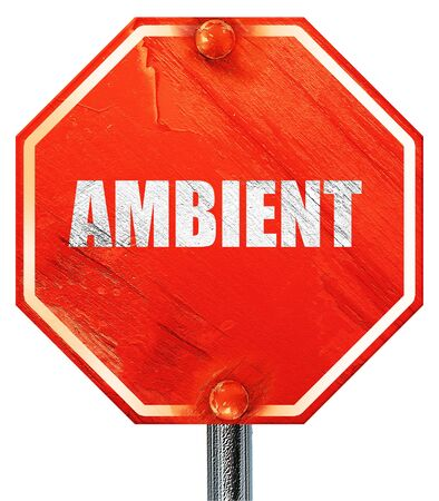 music 3d: ambient music, 3D rendering, a red stop sign Stock Photo