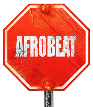 music 3d: afrobeat music, 3D rendering, a red stop sign