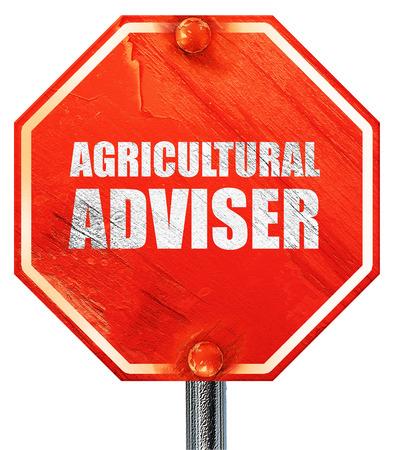 adviser: agricultural adviser, 3D rendering, a red stop sign