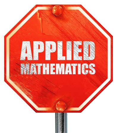 applied: applied mathematics, 3D rendering, a red stop sign Stock Photo