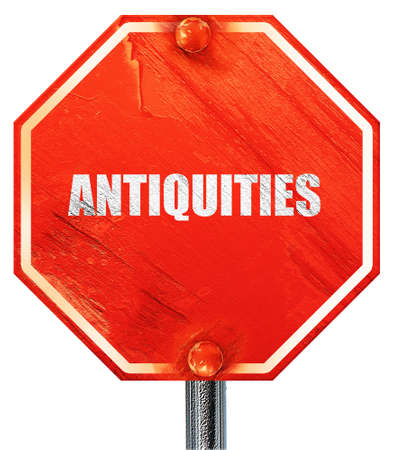 antiquities: antiquities, 3D rendering, a red stop sign Stock Photo