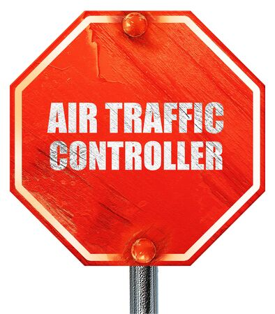 traffic controller: air traffic controller, 3D rendering, a red stop sign