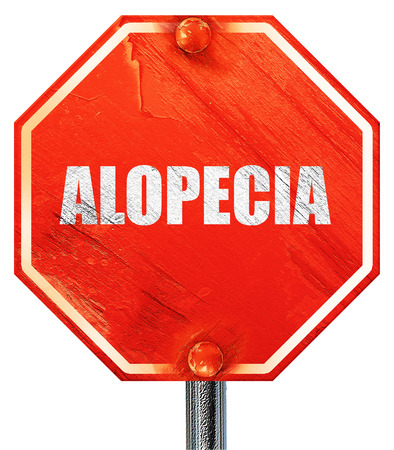 alopecia: alopecia, 3D rendering, a red stop sign Stock Photo